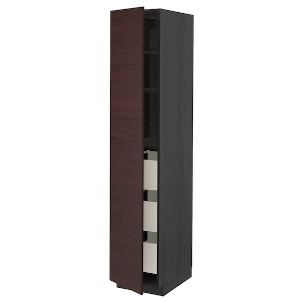 METOD / MAXIMERA High cabinet with drawers, black Askersund/dark brown ash effect, 40x60x200 cm