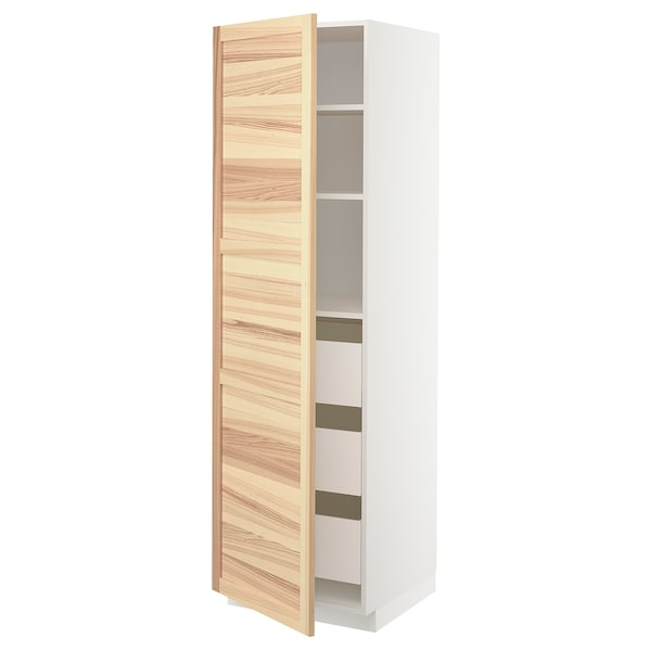 METOD / MAXIMERA high cabinet with drawers white/Torhamn ash 60.0 cm 61.8 cm 208.0 cm 60.0 cm 200.0 cm