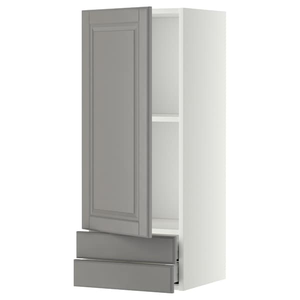 METOD / MAXIMERA Wall cabinet with door/2 drawers, white/Bodbyn grey, 40x100 cm