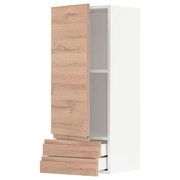 METOD / MAXIMERA Wall cabinet with door/2 drawers, white/Voxtorp oak effect, 40x100 cm