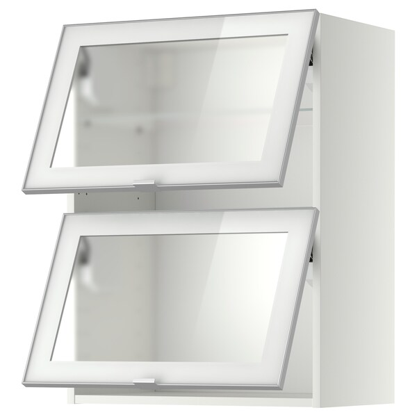 METOD wall cab horizontal w 2 glass doors white/Jutis frosted glass 60.0 cm 38.8 cm 80.0 cm