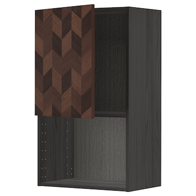 METOD Wall cabinet for microwave oven, black Hasslarp/brown patterned, 60x100 cm