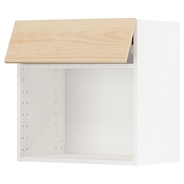 METOD wall cabinet for microwave oven white/Askersund light ash effect 60.0 cm 38.6 cm 60.0 cm