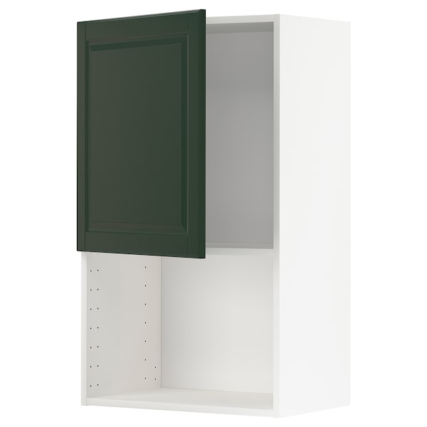METOD wall cabinet for microwave oven white/Bodbyn dark green 60.0 cm 38.9 cm 100.0 cm