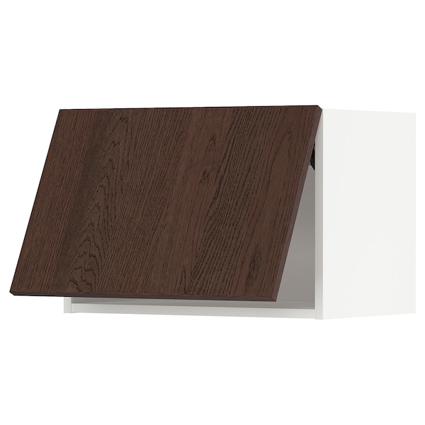 METOD Wall cabinet horizontal w push-open, white/Sinarp brown, 60x40 cm