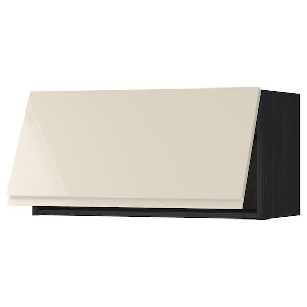 METOD wall cabinet horizontal black/Voxtorp high-gloss light beige 80.0 cm 39.1 cm 40.0 cm