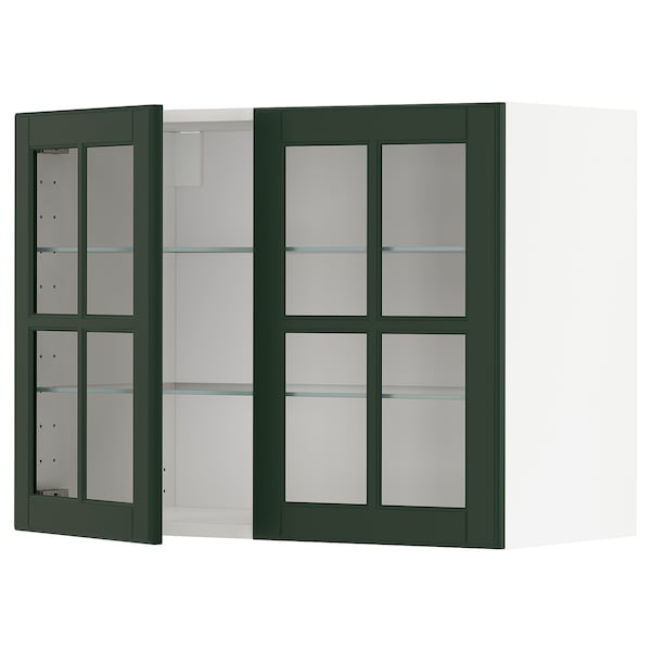 METOD Wall cabinet w shelves/2 glass drs, white/Bodbyn dark green, 80x60 cm