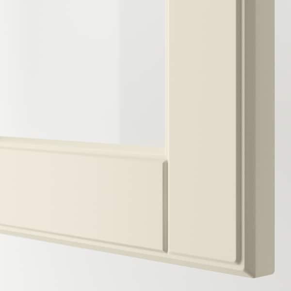 METOD Wall cabinet w shelves/2 glass drs, white/Bodbyn off-white, 60x60 cm