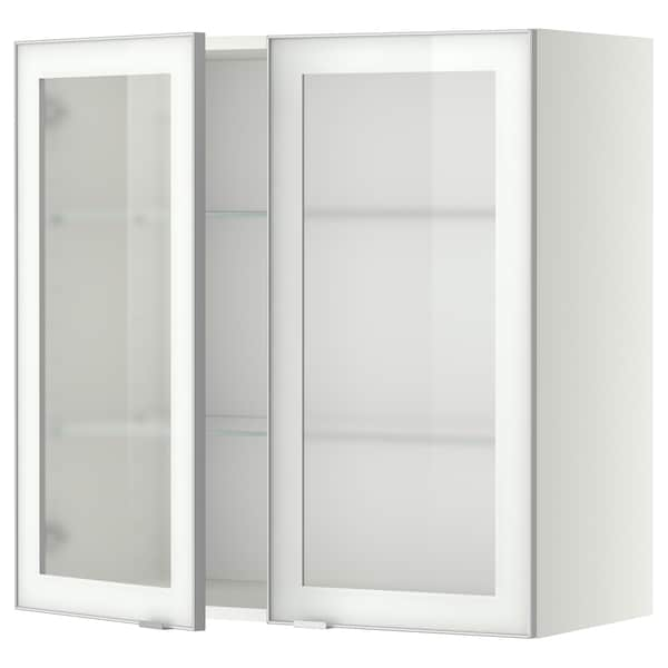METOD Wall cabinet w shelves/2 glass drs, white/Jutis frosted glass, 80x80 cm