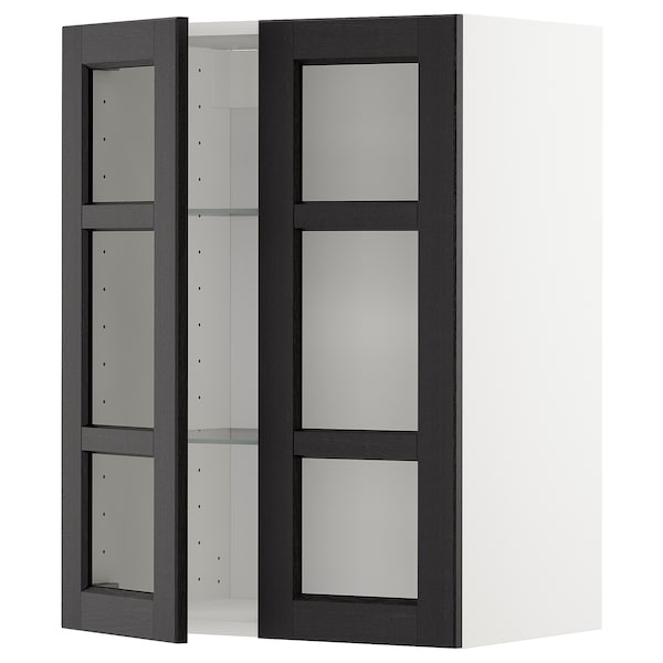 METOD Wall cabinet w shelves/2 glass drs, white/Lerhyttan black stained, 60x80 cm