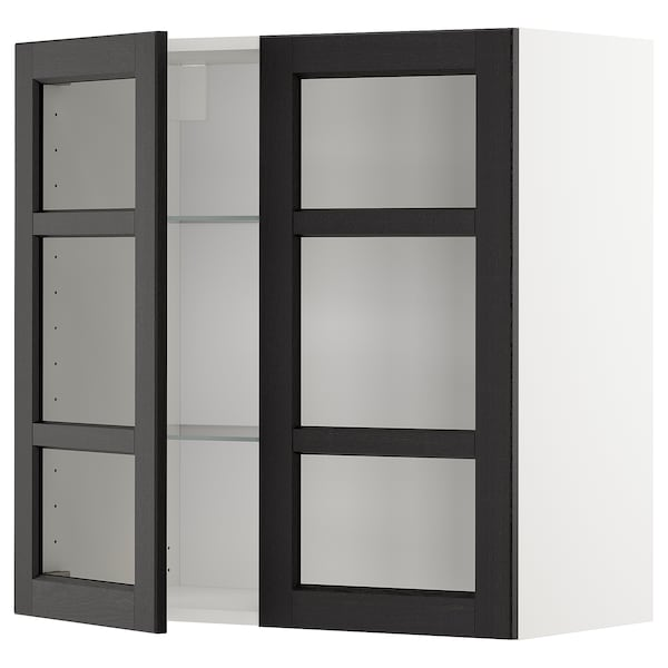 METOD Wall cabinet w shelves/2 glass drs, white/Lerhyttan black stained, 80x80 cm