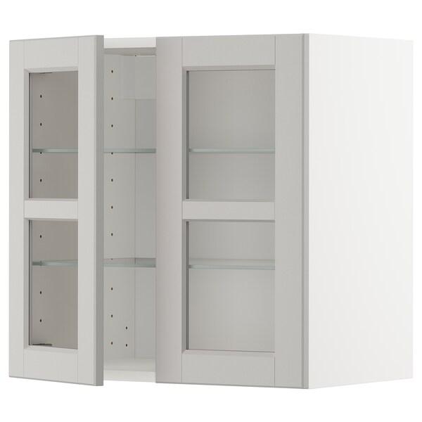 METOD Wall cabinet w shelves/2 glass drs, white/Lerhyttan light grey, 60x60 cm