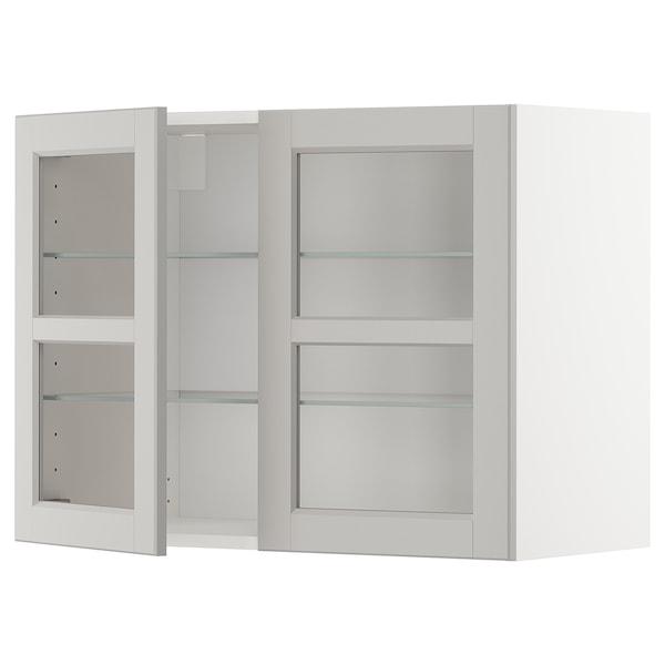 METOD Wall cabinet w shelves/2 glass drs, white/Lerhyttan light grey, 80x60 cm