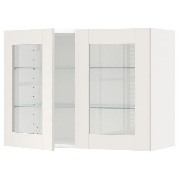 METOD Wall cabinet w shelves/2 glass drs, white/Sävedal white, 80x60 cm