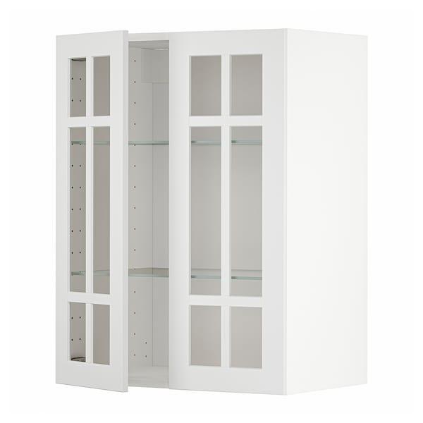 METOD Wall cabinet w shelves/2 glass drs, white/Stensund white, 60x80 cm