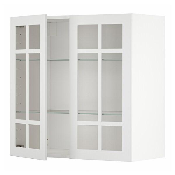 METOD Wall cabinet w shelves/2 glass drs, white/Stensund white, 80x80 cm
