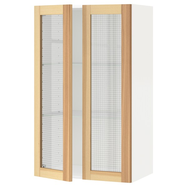 METOD Wall cabinet w shelves/2 glass drs, white/Torhamn ash, 60x100 cm