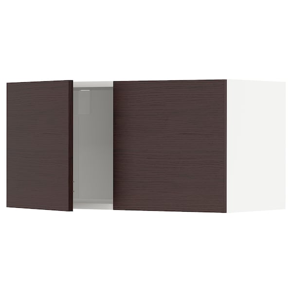 METOD Wall cabinet with 2 doors, white Askersund/dark brown ash effect, 80x40 cm