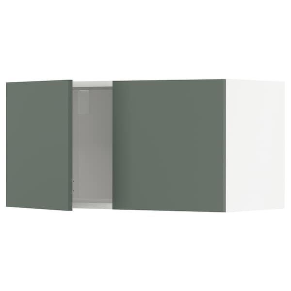 METOD Wall cabinet with 2 doors, white/Bodarp grey-green, 80x40 cm