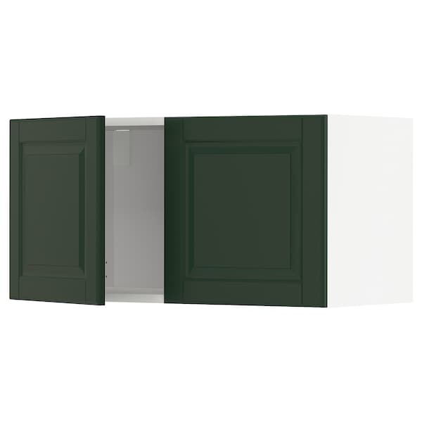 METOD Wall cabinet with 2 doors, white/Bodbyn dark green, 80x40 cm