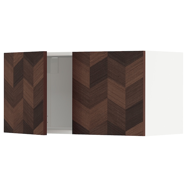 METOD Wall cabinet with 2 doors, white Hasslarp/brown patterned, 80x40 cm