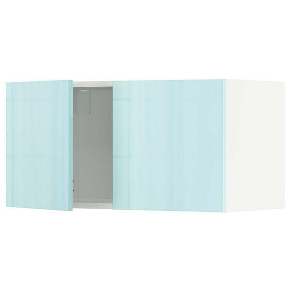 METOD Wall cabinet with 2 doors, white Järsta/high-gloss light turquoise, 80x40 cm