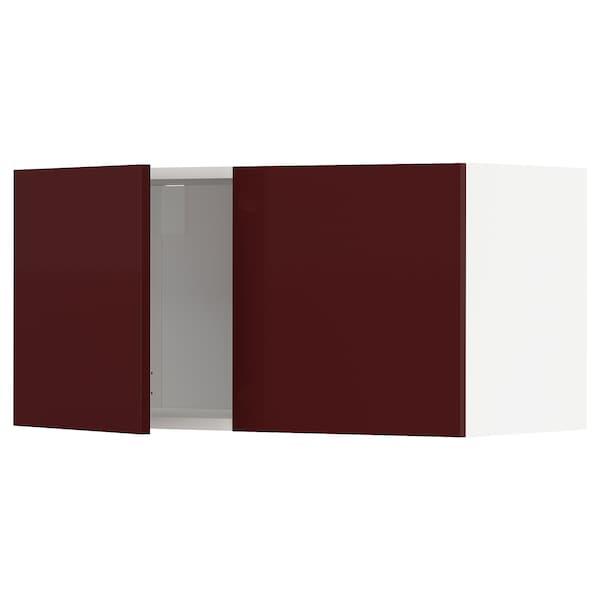 METOD Wall cabinet with 2 doors, white Kallarp/high-gloss dark red-brown, 80x40 cm