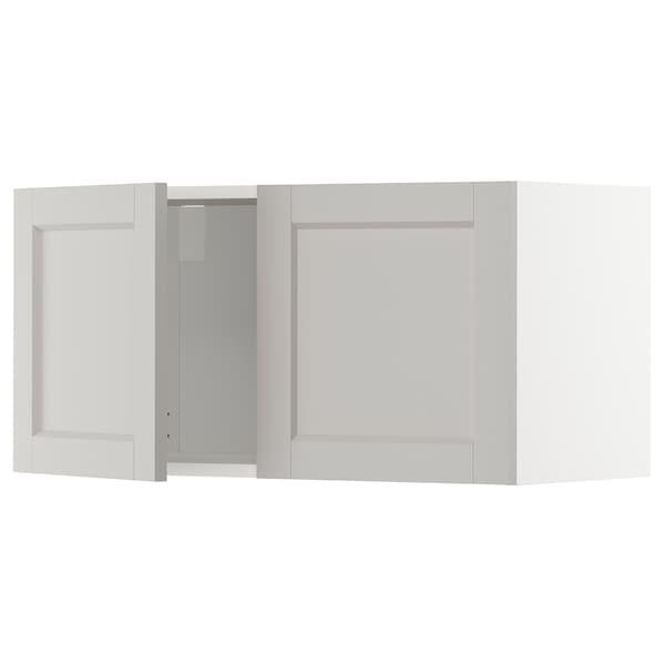 METOD Wall cabinet with 2 doors, white/Lerhyttan light grey, 80x40 cm