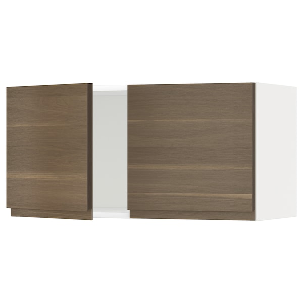 METOD Wall cabinet with 2 doors, white/Voxtorp walnut effect, 80x40 cm