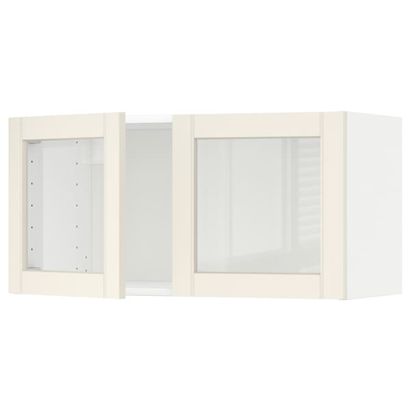 METOD Wall cabinet with 2 glass doors, white/Hittarp off-white, 80x40 cm