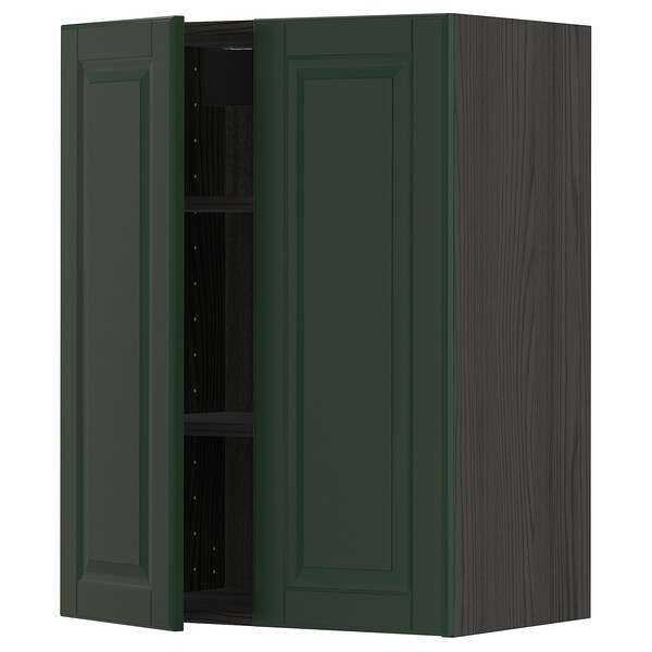 METOD Wall cabinet with shelves/2 doors, black/Bodbyn dark green, 60x80 cm