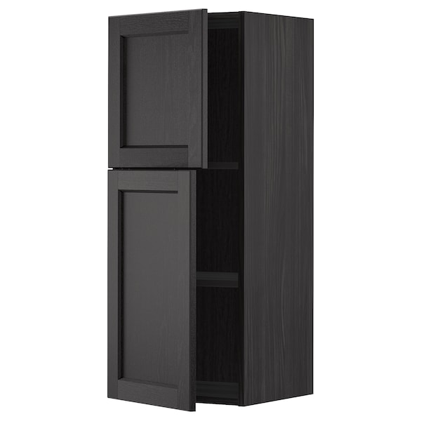 METOD Wall cabinet with shelves/2 doors, black/Lerhyttan black stained, 40x100 cm