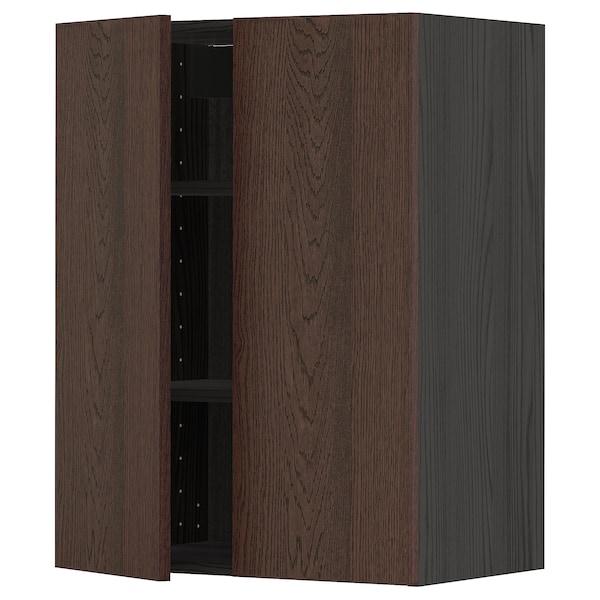 METOD Wall cabinet with shelves/2 doors, black/Sinarp brown, 60x80 cm