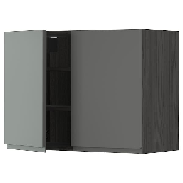 METOD Wall cabinet with shelves/2 doors, black/Voxtorp dark grey, 80x60 cm
