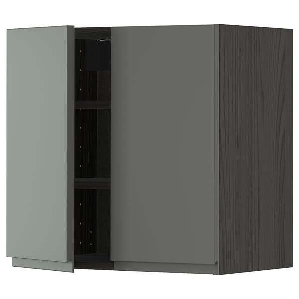 METOD Wall cabinet with shelves/2 doors, black/Voxtorp dark grey, 60x60 cm