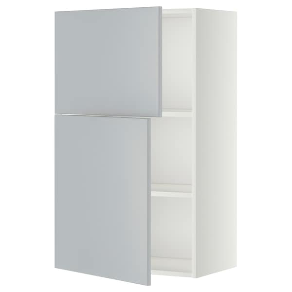 METOD Wall cabinet with shelves/2 doors, white/Veddinge grey, 60x100 cm
