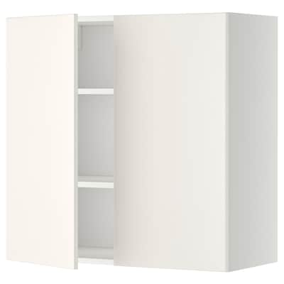 METOD Wall cabinet with shelves/2 doors, white/Veddinge white, 80x80 cm