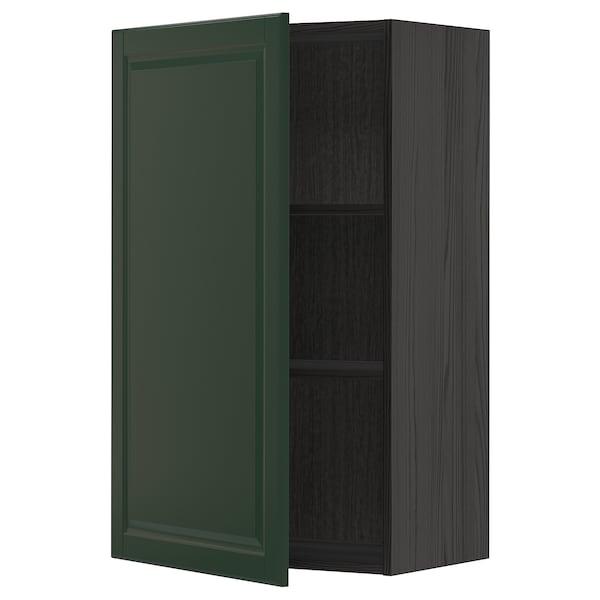 METOD Wall cabinet with shelves, black/Bodbyn dark green, 60x100 cm