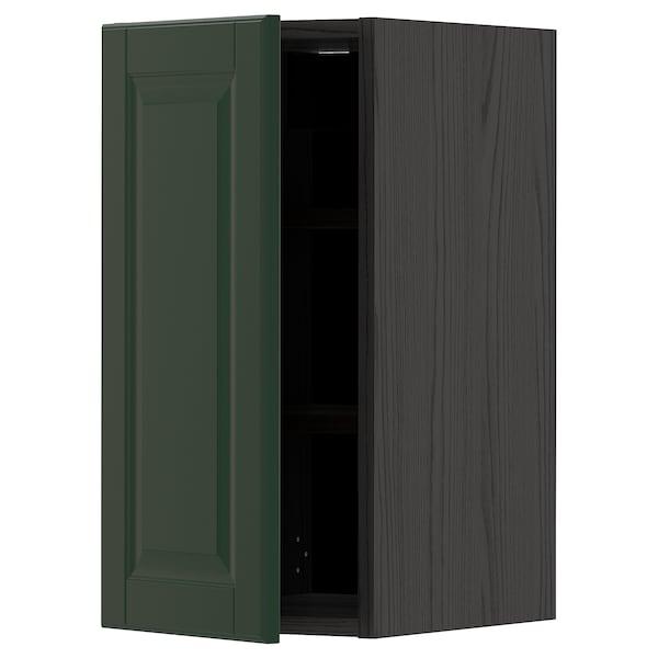 METOD Wall cabinet with shelves, black/Bodbyn dark green, 30x60 cm