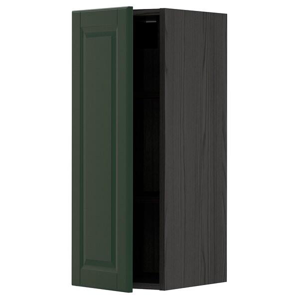 METOD Wall cabinet with shelves, black/Bodbyn dark green, 30x80 cm