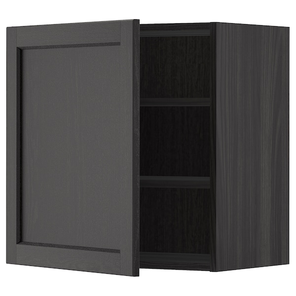 METOD Wall cabinet with shelves, black/Lerhyttan black stained, 60x60 cm