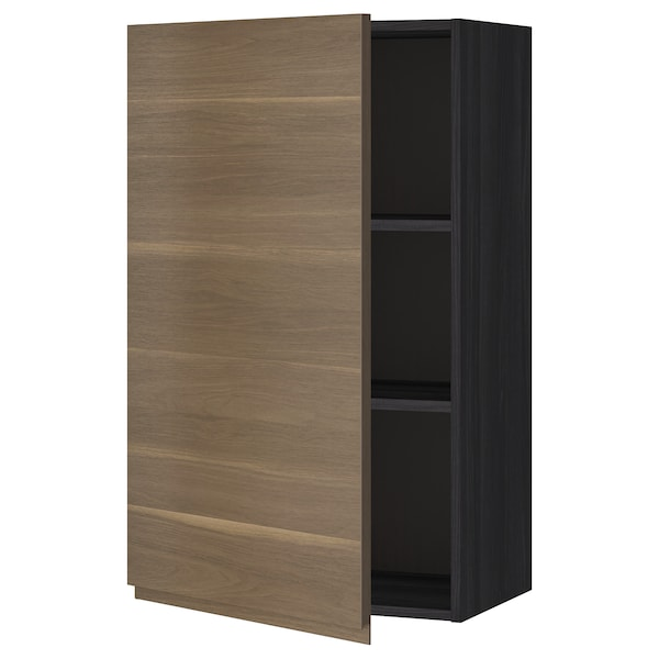 METOD Wall cabinet with shelves, black/Voxtorp walnut effect, 60x100 cm