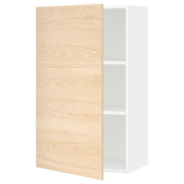 METOD Wall cabinet with shelves, white/Askersund light ash effect, 60x100 cm