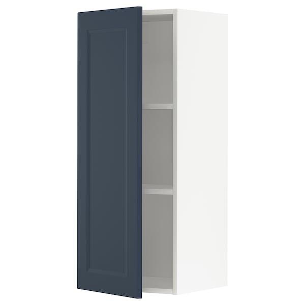 METOD Wall cabinet with shelves, white Axstad/matt blue, 40x100 cm