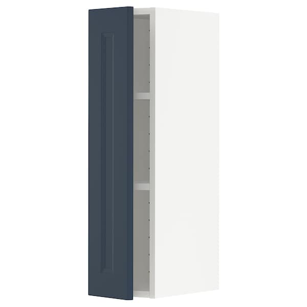 METOD Wall cabinet with shelves, white Axstad/matt blue, 20x80 cm