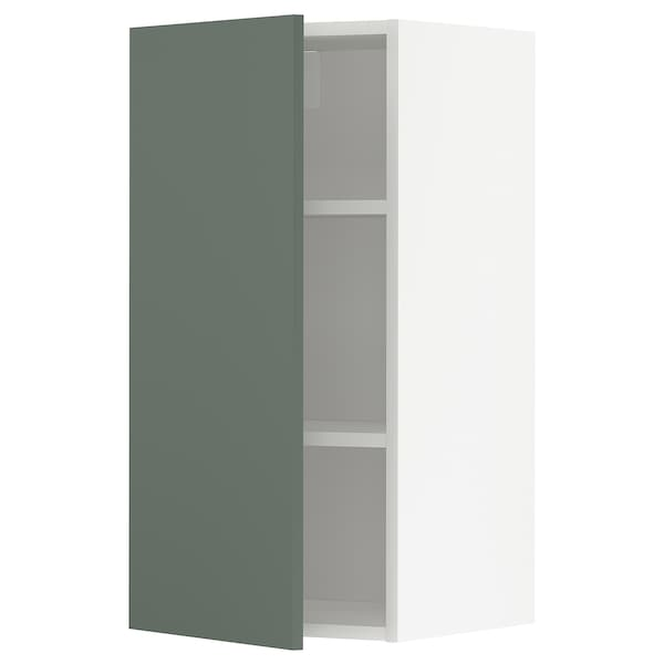 METOD Wall cabinet with shelves, white/Bodarp grey-green, 40x80 cm