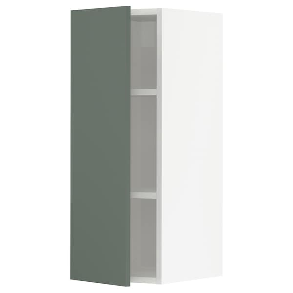 METOD Wall cabinet with shelves, white/Bodarp grey-green, 30x80 cm