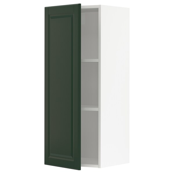 METOD Wall cabinet with shelves, white/Bodbyn dark green, 40x100 cm