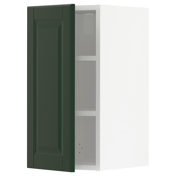 METOD Wall cabinet with shelves, white/Bodbyn dark green, 30x60 cm