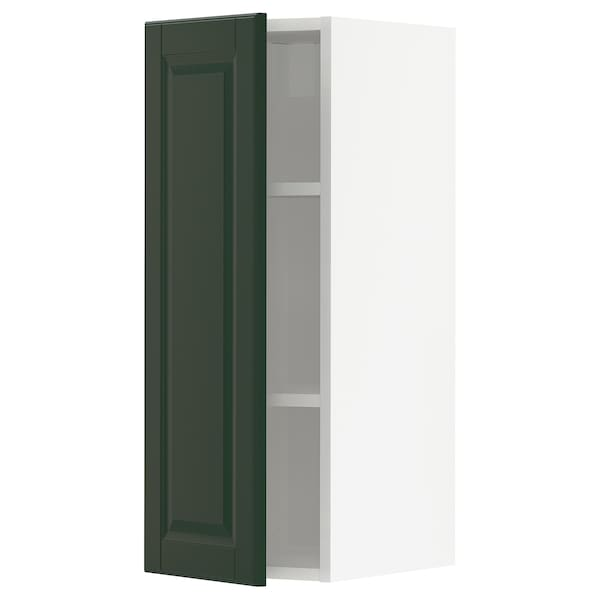 METOD Wall cabinet with shelves, white/Bodbyn dark green, 30x80 cm